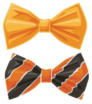 Orange Bow Ties Cartoon Vector Graphic Illustration Set