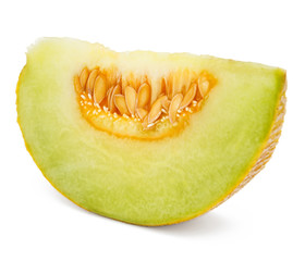 Close up of melon in isolated white background