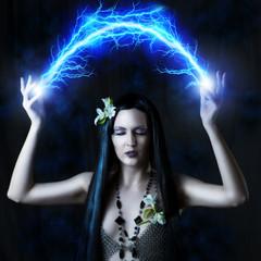 sexy woman making magic