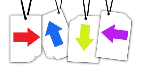 colorful arrow on white paper isolated