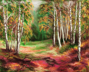 Picture, autumn forest