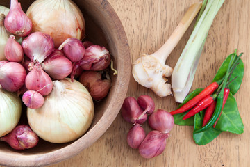 asian hot and spicy food ingredient with onions bowl