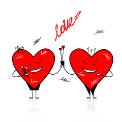Valentine day. Funny hearts with bouquet for your design