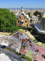 Barcelona: Park Guell, famous park designed by Antoni Gaudi