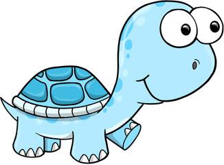Blue Silly Turtle Vector Illustration Art