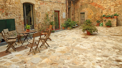 paved rustic terrace in Tuscany, Italy, Europe