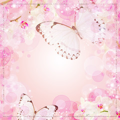 Butterflies and orchids flowers pink background