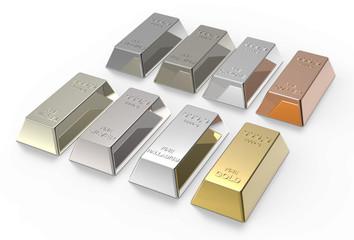 Set of valuable metals ingots isolated on white.
