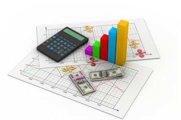 Business chart with calculator and dollar