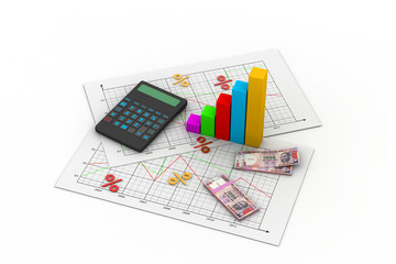 Business chart with calculator and Indian money
