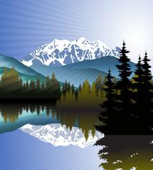 Vector Morning at Mountains Lake