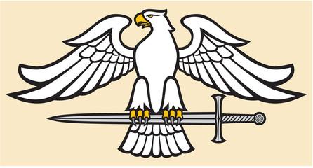 eagle holding a sword