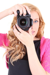 Woman with digital camera in hands