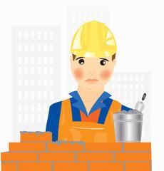 Worker builder places brick