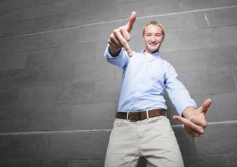 Man showing an obscene gesture