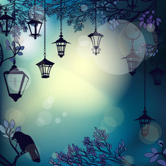 Mystic night background with tree branches and lanterns