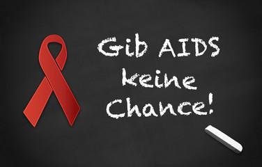 Kreidetafel Gib AIDS keine Chance! black