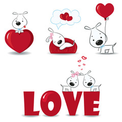A set of funny dogs with hearts.Vector illustration.