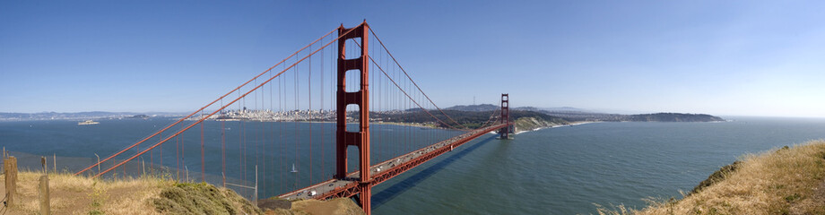Golden Gate Bridge  panorama, with San Francisco in the backgrou