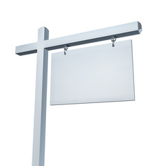 Blank White Real Estate Sign