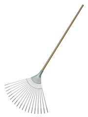 Leaf rake isolated on white background. 3D render.
