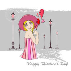 romantic background with illustrated cute girl