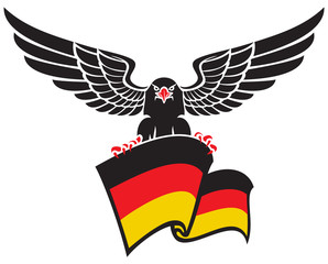 black eagle with the German flag
