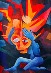 splitting headache - acryl auf Leinwand (gemalt vom Fotograf)