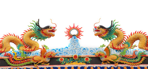twin dragon on chinese temple roof