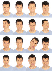 Adult man face expressions composite isolated on white back