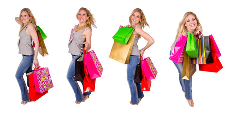 Collection of blond girl with shopping bags on white background