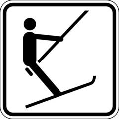 Fototapete - Schlepplift Ankerlift Skilift Schild Zeichen Symbol