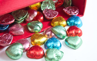 colorful chocolate hearts candies,isolated