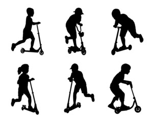 children scooting silhouettes- vector