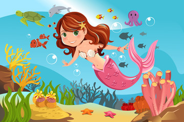 Deurstickers Zeemeermin Mermaid in ocean