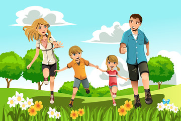 Family running in park