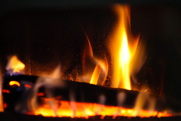 wood log in a fire place