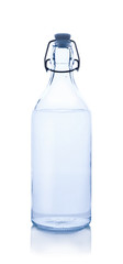 glass water bottle on white