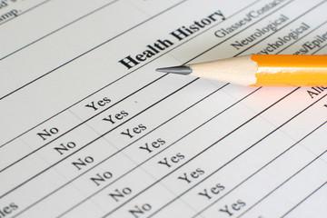 Fototapeta Health history form obraz