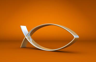 3D ICHTHYS Silber auf Orange 01