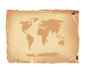 Old Parchment with world map
