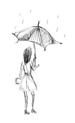 Girl Holding Umbrella Sketch Hand Draw
