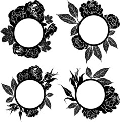Vector set of vintage frames with flowers