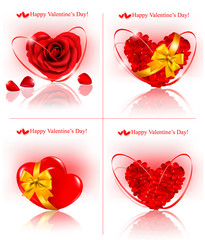 Set of Valentine`s day banners. Red hearts made of rose petals