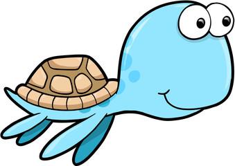 Silly Happy Summer Sea Turtle Animal Vector Illustration