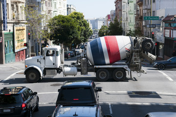 american concrete mixer truck crossing street in San Francisco