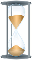 Hourglass. Sand is floating down in an hourglass with metal frame and shows how transient time is. Illustration on white background.