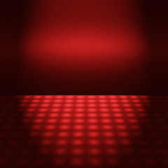 empty red disco scene with beam of light - to design