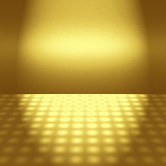 empty gold disco scene with beam of light - to design