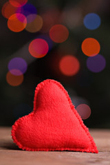 Handmade red textile heart
